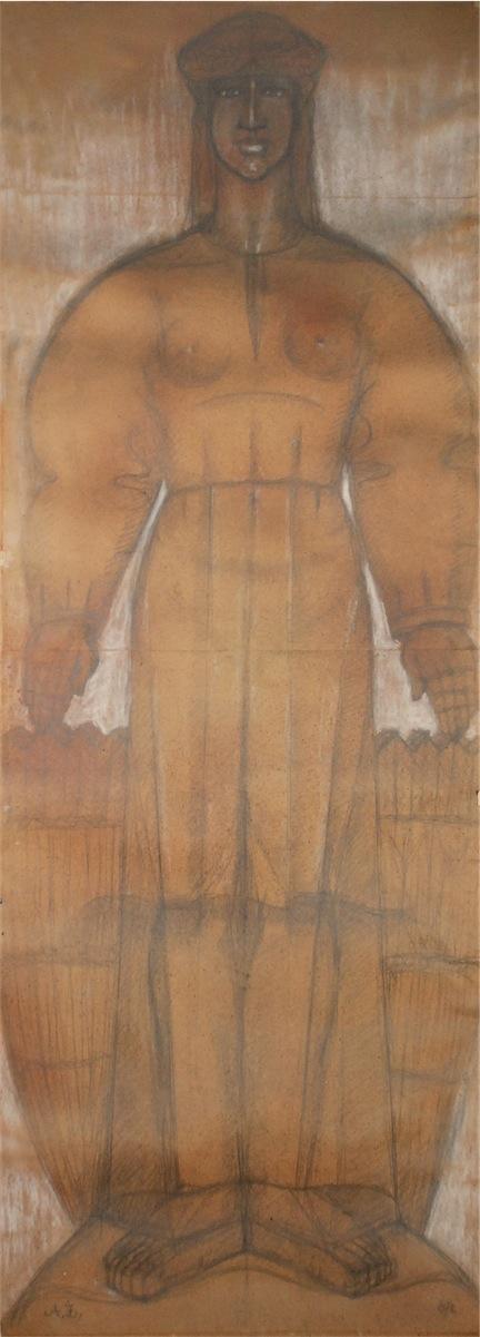 Postać kobieca - karton z projektem rzeźby, 1969