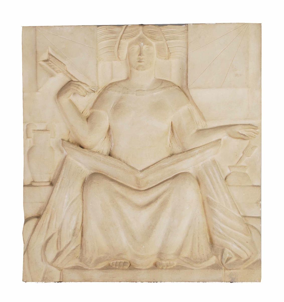 Kobieta pisząca, 1946 - płaskorzeźba