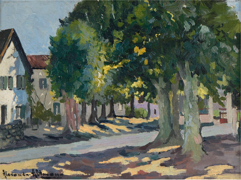 Route de village sous les arbres