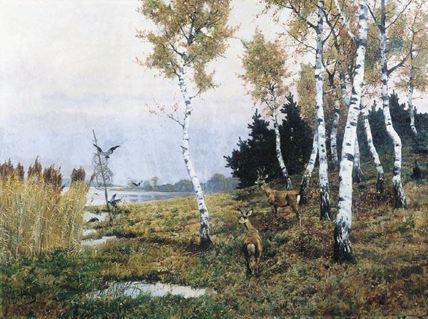 Sarny w brzezinie na brzegu jeziora, 1893