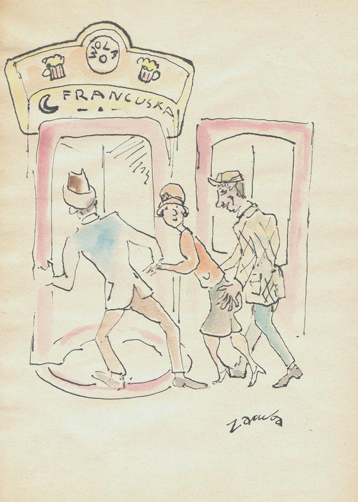 Scenka rodzajowa przed restauracją Francuska