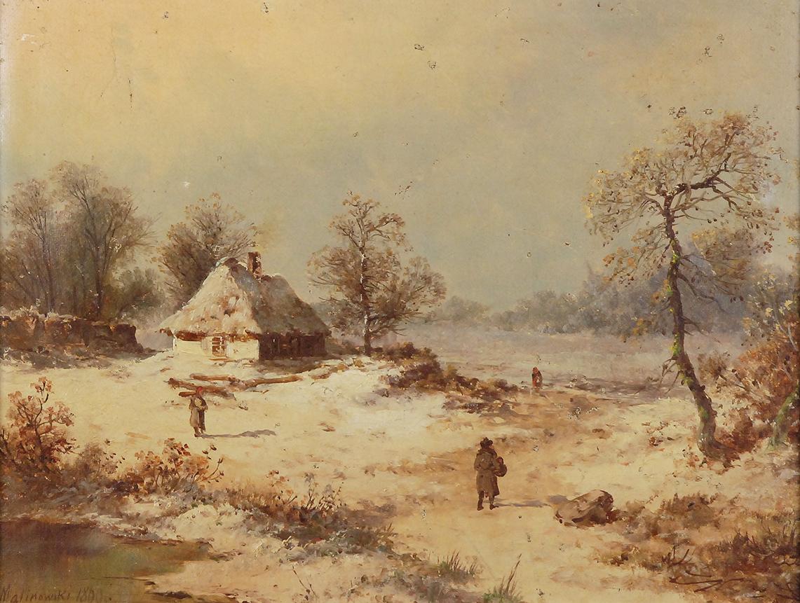 Pejzaż zimowy ze sztafażem