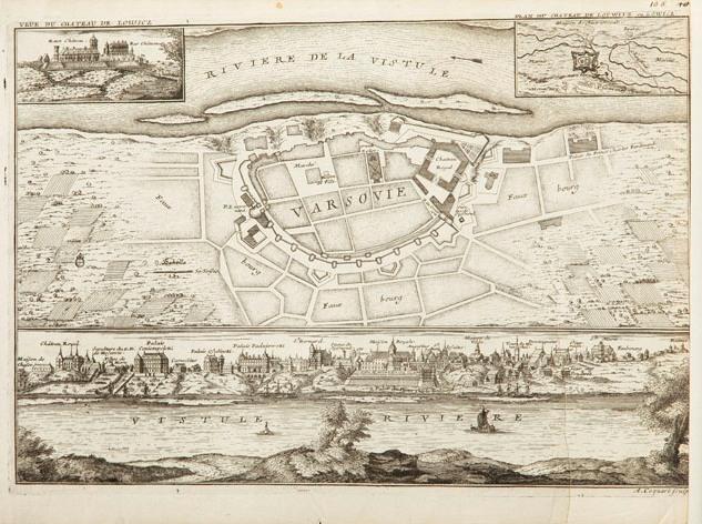 Plan i panorama Warszawy z planem i widokiem pałacu w Łowiczu, 1705 r.