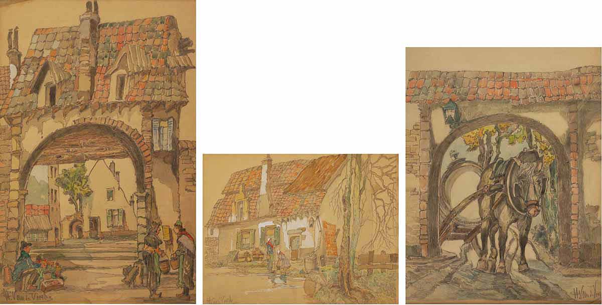 Stara Holandia  - zestaw 3 prac