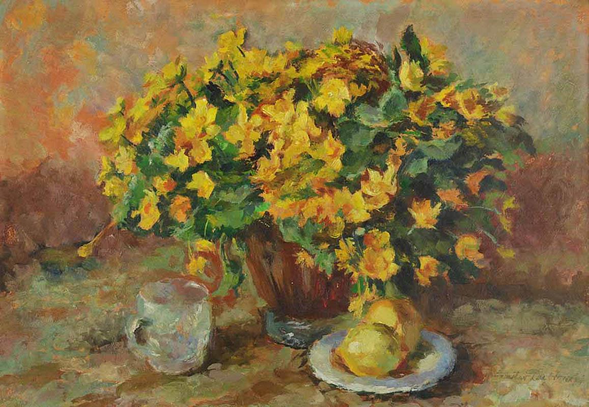 Kwiaty, cytryny i szklanka