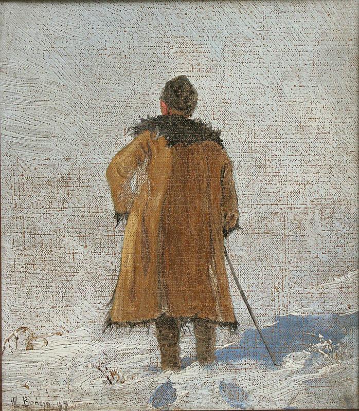 Portret chłopa w zimowym pejzażu (1897)