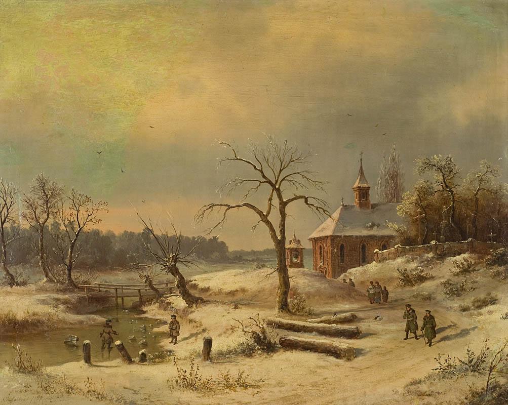 Pejzaż zimowy z kościołem