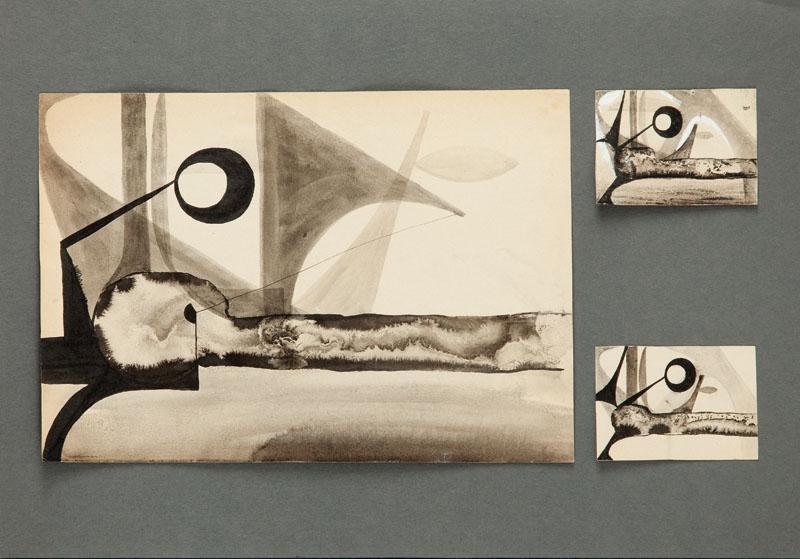 Kompozycja, 1955 r. (trzy współoprawne rysunki)