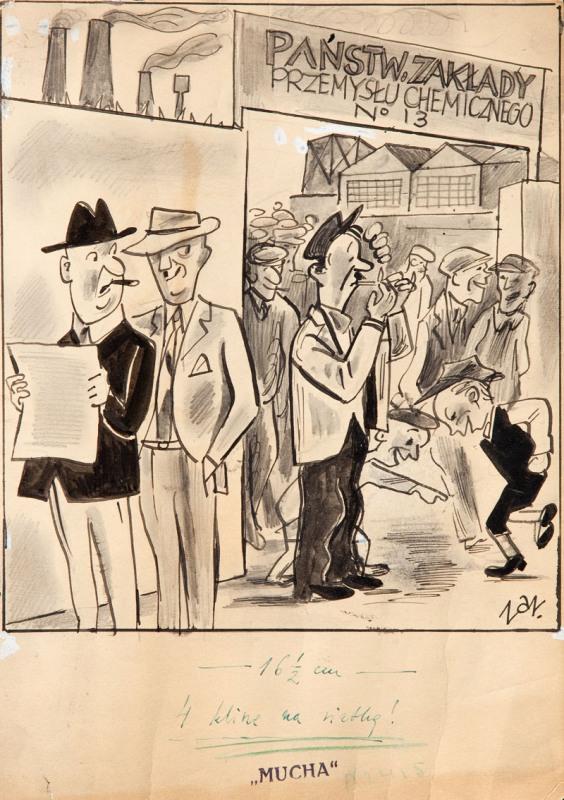 Rysunek satyryczny do czasopisma Mucha