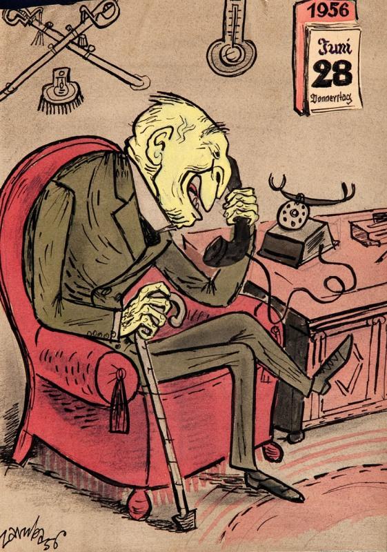 Adenauer przy telefonie, 1956 r.