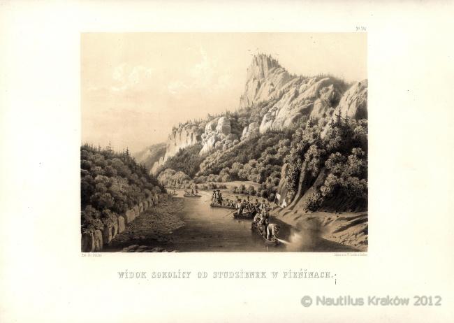 Widok Sokolicy od Studzienek w Pieninach [Spływ Dunajcem], 1858