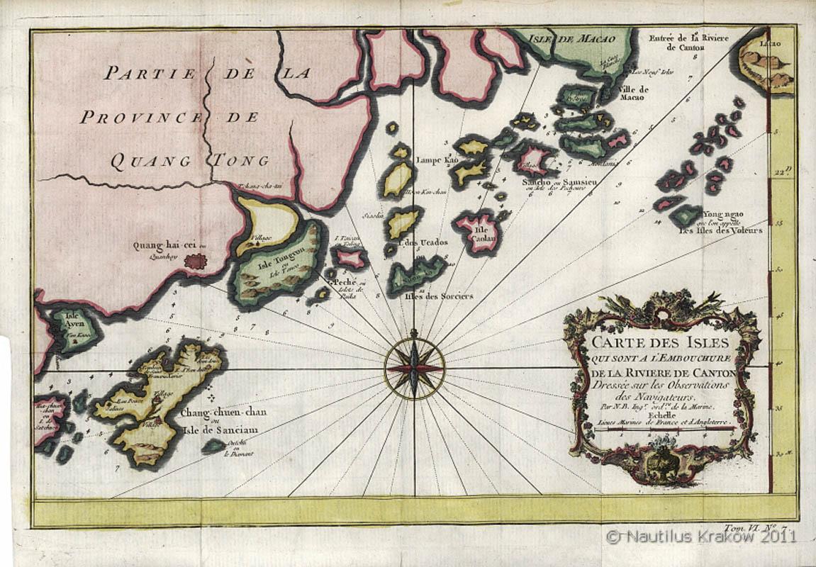 Carte des isles qui sont a l'embouchure de la riviere de Canton [Chiny, archipelag wysp i wybrzeże na południe od Makao], 1750