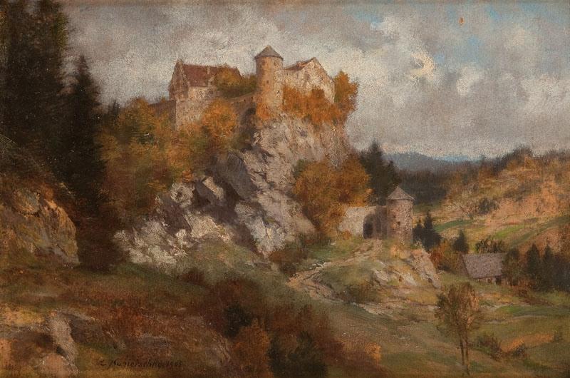 PEJZAŻ Z ZAMKIEM NA WZGÓRZU, 1905 R.
