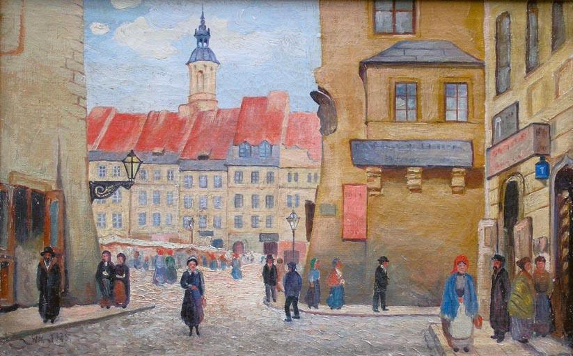 Widok na Rynek Starego Miasta w Warszawie od ulicy Nowomiejskiej, 1935