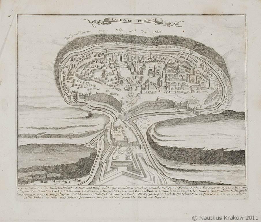 Widok [plan perspektywiczny] Kamieńca Podolskiego, po 1693