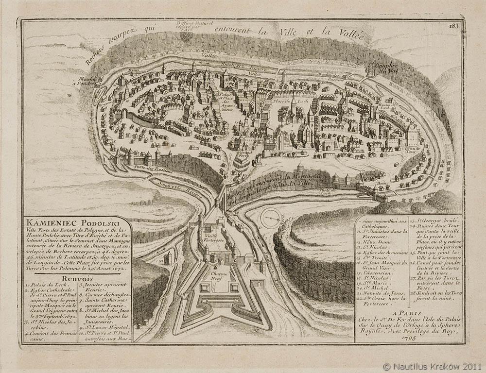 Widok [plan perspektywiczny] Kamieńca Podolskiego, 1705