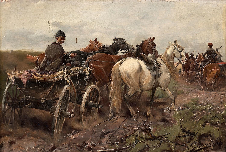PEJZAŻ Z CHŁOPSKIM WOZEM, OK. 1880