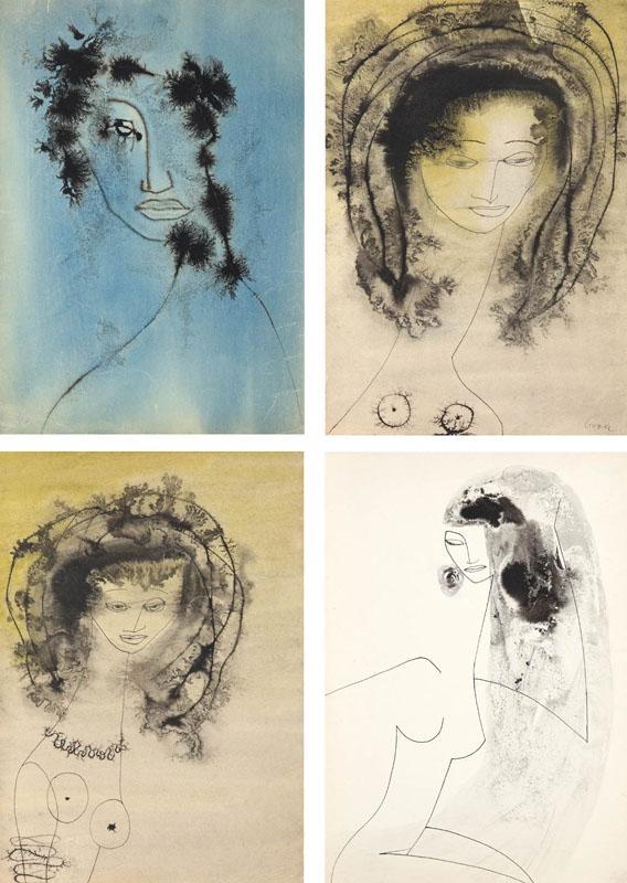 Zestaw 4 prac: Postacie kobiece, ok. 1953 r.