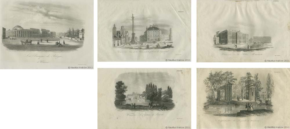 Zestaw 5 widoków Warszawy z L. Chodźko, La Pologne, t. 1-3, Paris 1836;