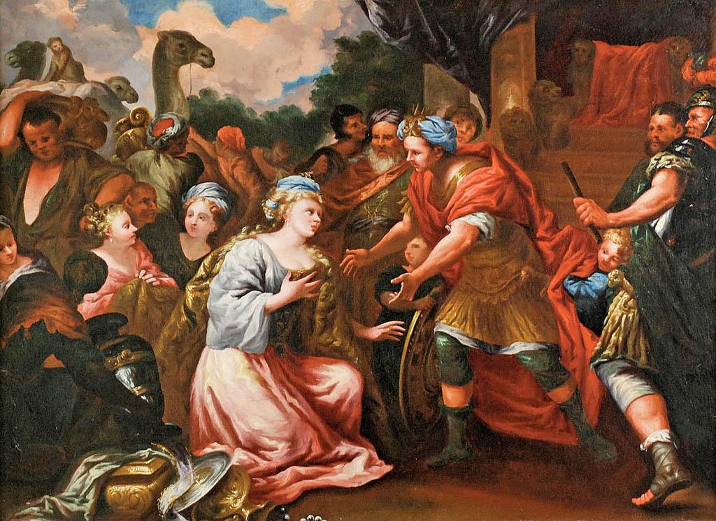 Salomon przyjmujący królową Sabę