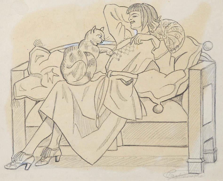 Dama z kotem na sofie, ok. 1920