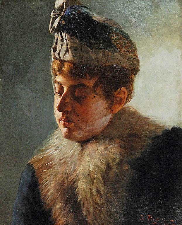 Portret damy w kapeluszu z woalką, 1889