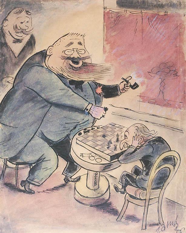 Franciszek Fischer i Bolesław Leśmian grający w szachy, 1936 [?]