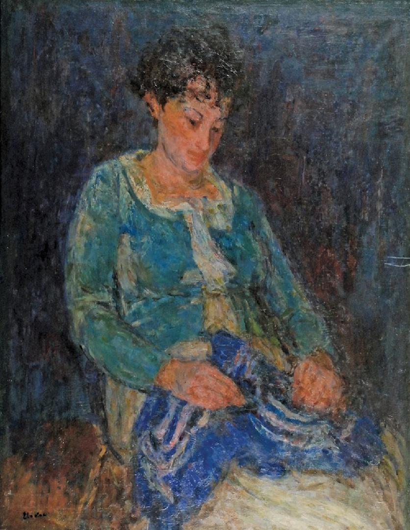 Portret żony na niebieskim tle, 1936-1937