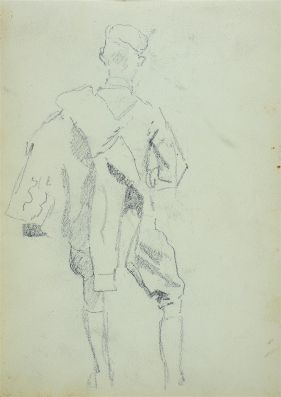 Ułan z kurtką przewieszoną na ramieniu-ujęty z tyłu
