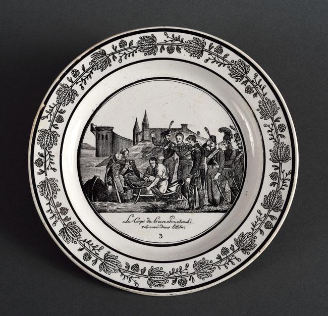 Okolicznościowy TALERZ fajansowy z cyklu upamiętniającego postać KS. JÓZEFA PONIATOWSKIEGO, 1824-1836