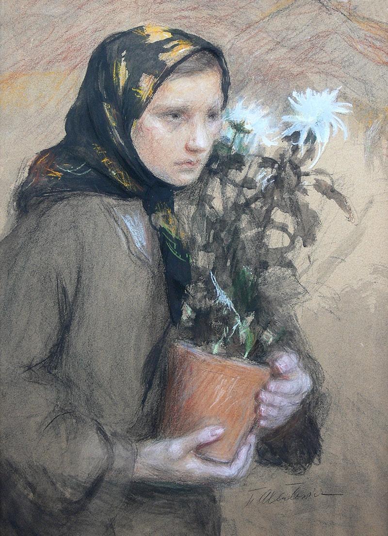 Kobieta z chryzantemami, 1936 r.