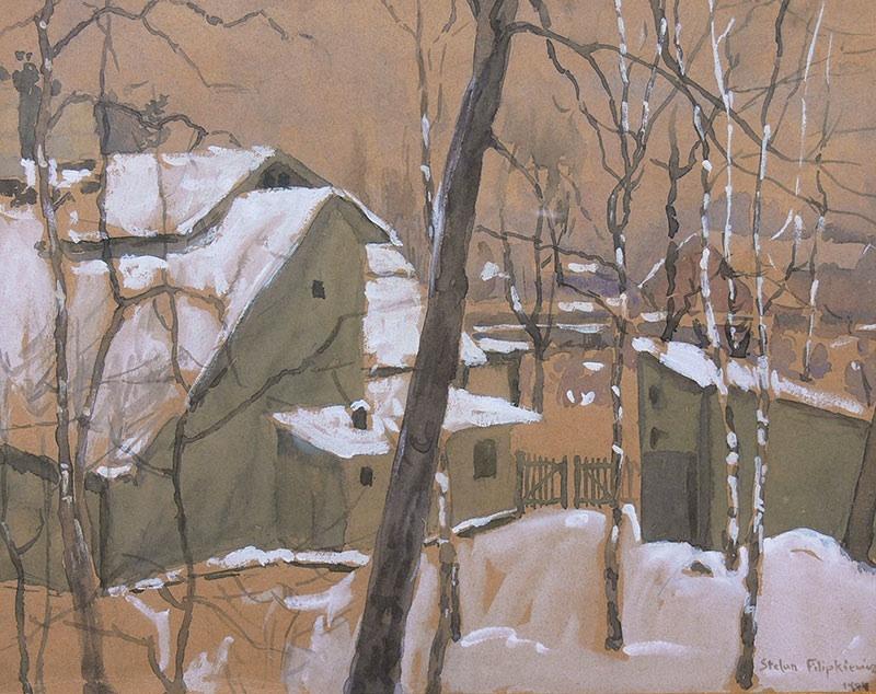 Domy w pejzażu zimowym, 1904 r.