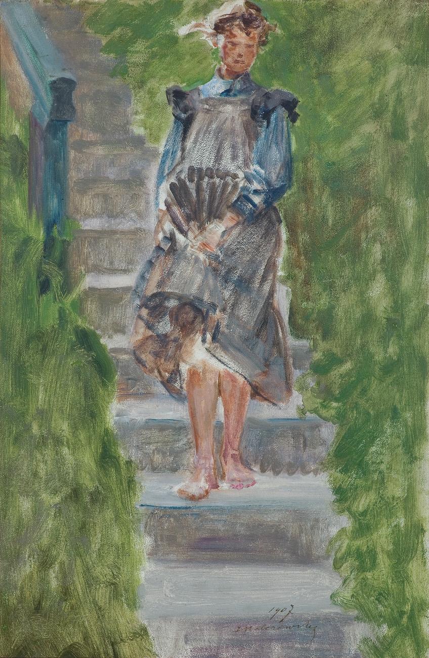 DZIEWCZYNA NA SCHODACH. MODELKA W OGRODZIE, 1907