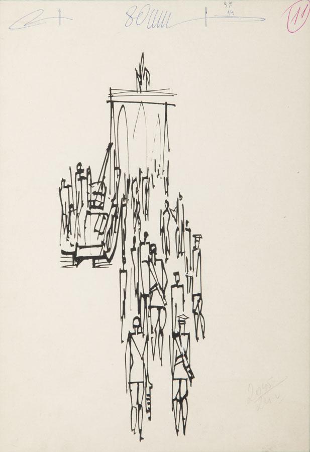 Szkic ilustracji (Brama Brandenburska), 1957 r.