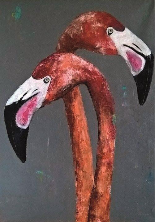 Dwa flamingi, 2017
