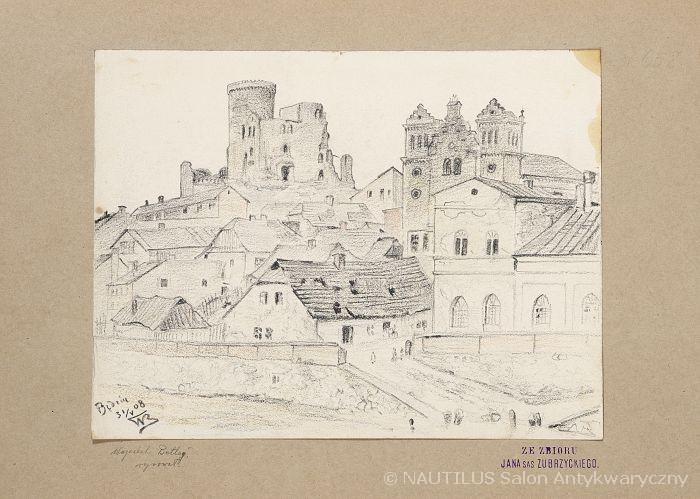 Będzin. Zamek i synagoga, 1908