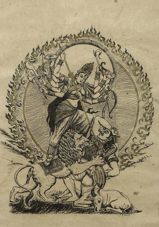 Durga, żona Shivy pokonuje Mahishasura, syna demona Rambha, Tybet, poł. XX w.