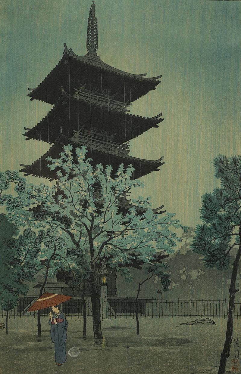 Pagpda w porannym deszczu, dzielnica Yanaka w Tokio, Japonia, okres Showa (1926-1989), 1932 r.