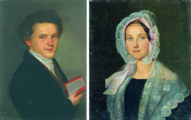 Para portretów w stylu biedermeier