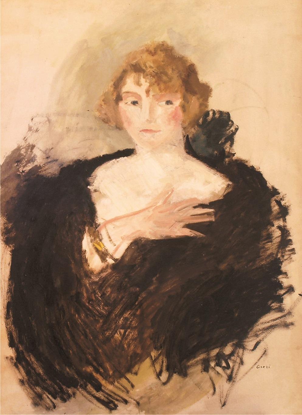 Portret damy w czarnej etoli, ok. 1910