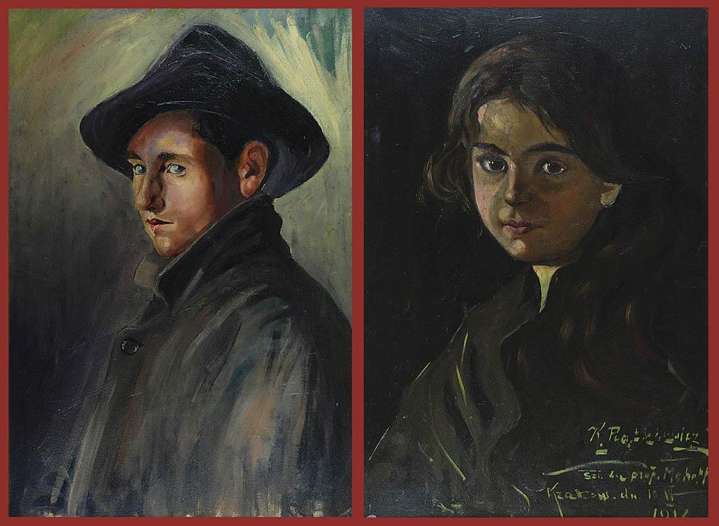 Młoda dziewczyna i młodzieniec (autoportret ?) - para portretów