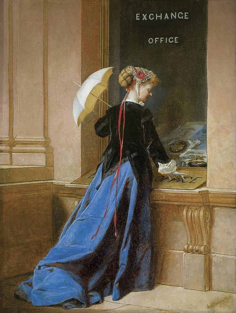 PRZED KANTOREM; JAK DUŻO KLEJNOTÓW MOGŁABYM SOBIE KUPIĆ!!!, ok. 1870