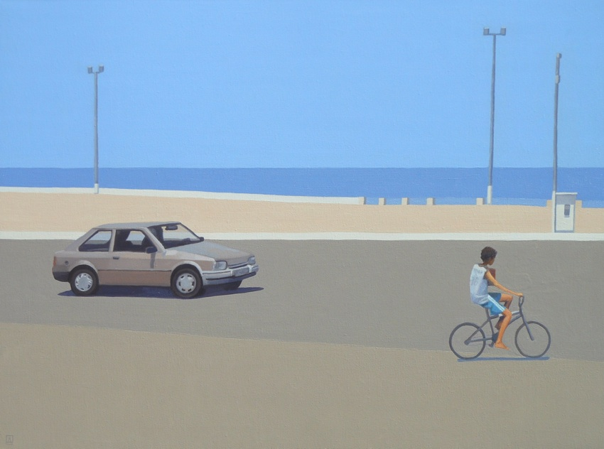 Chłopiec, rower i samochód, 2016