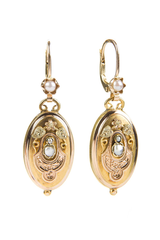 Kolczyki z perłami, k. XIX w., biedermeier