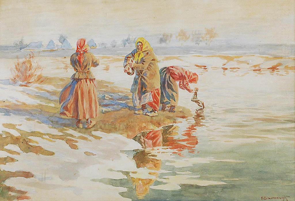 Scena z Kresów - Kobiety piorące w rzece