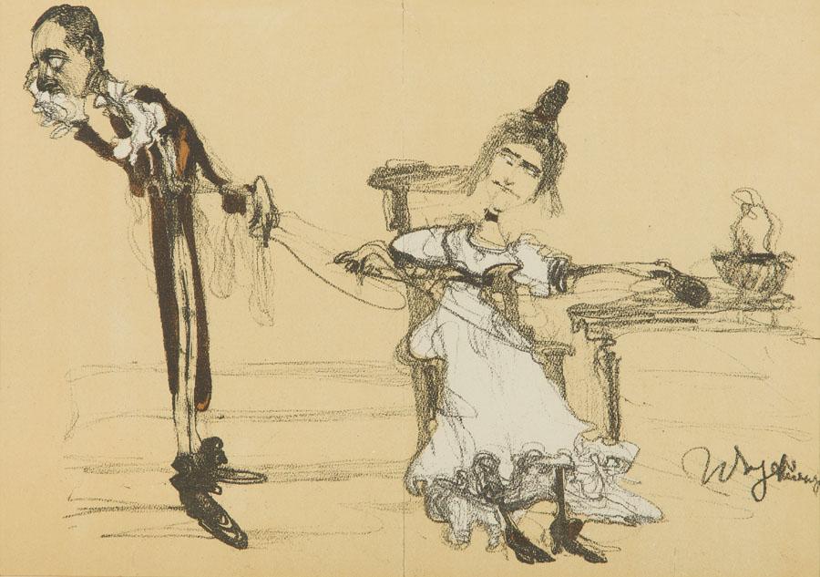Jadwiga Mrozowska i Andrzej Milewski jako Albin i Klara w Ślubach Panieńskich, 1904 r.