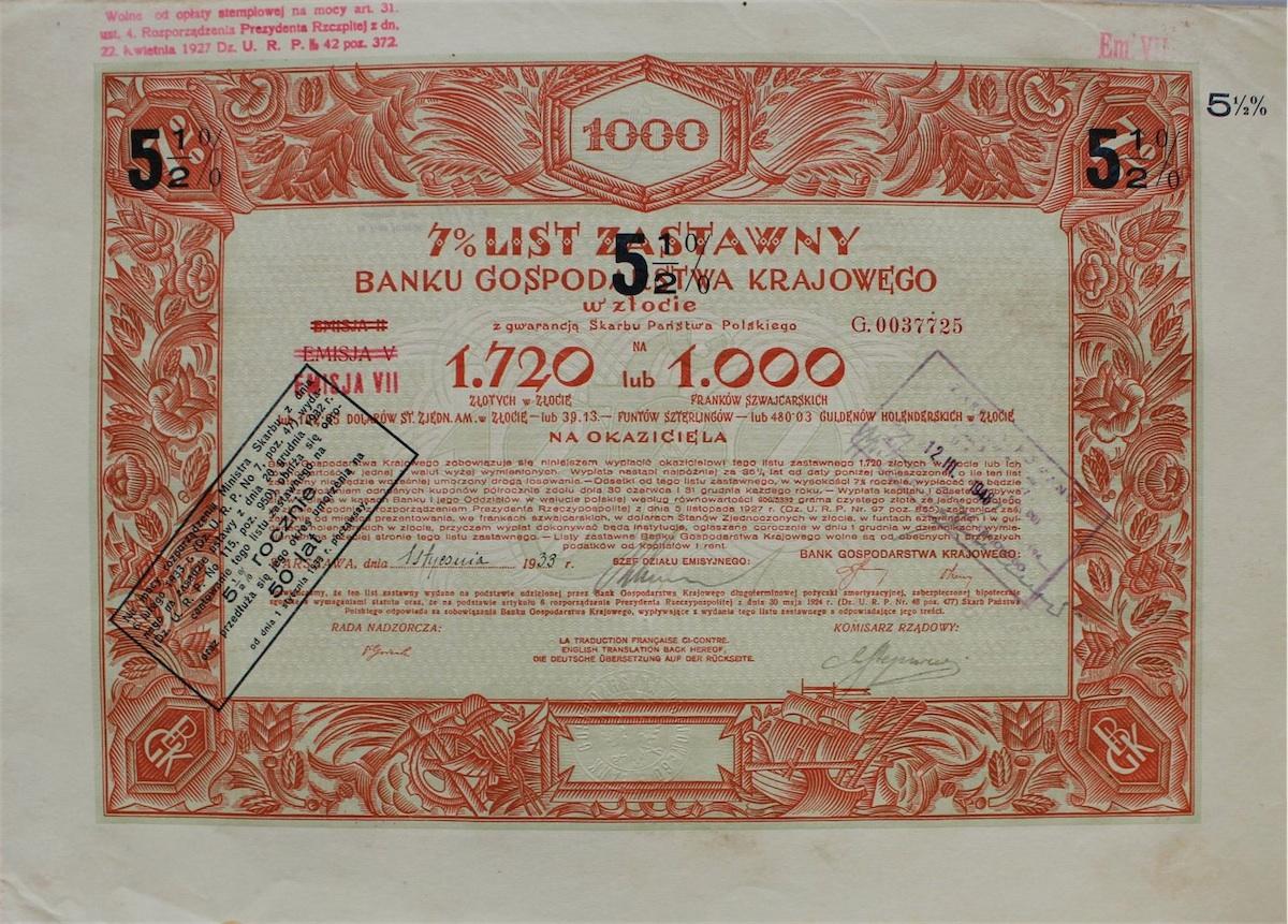 5 ½ % List zastawny na 1720 złotych.