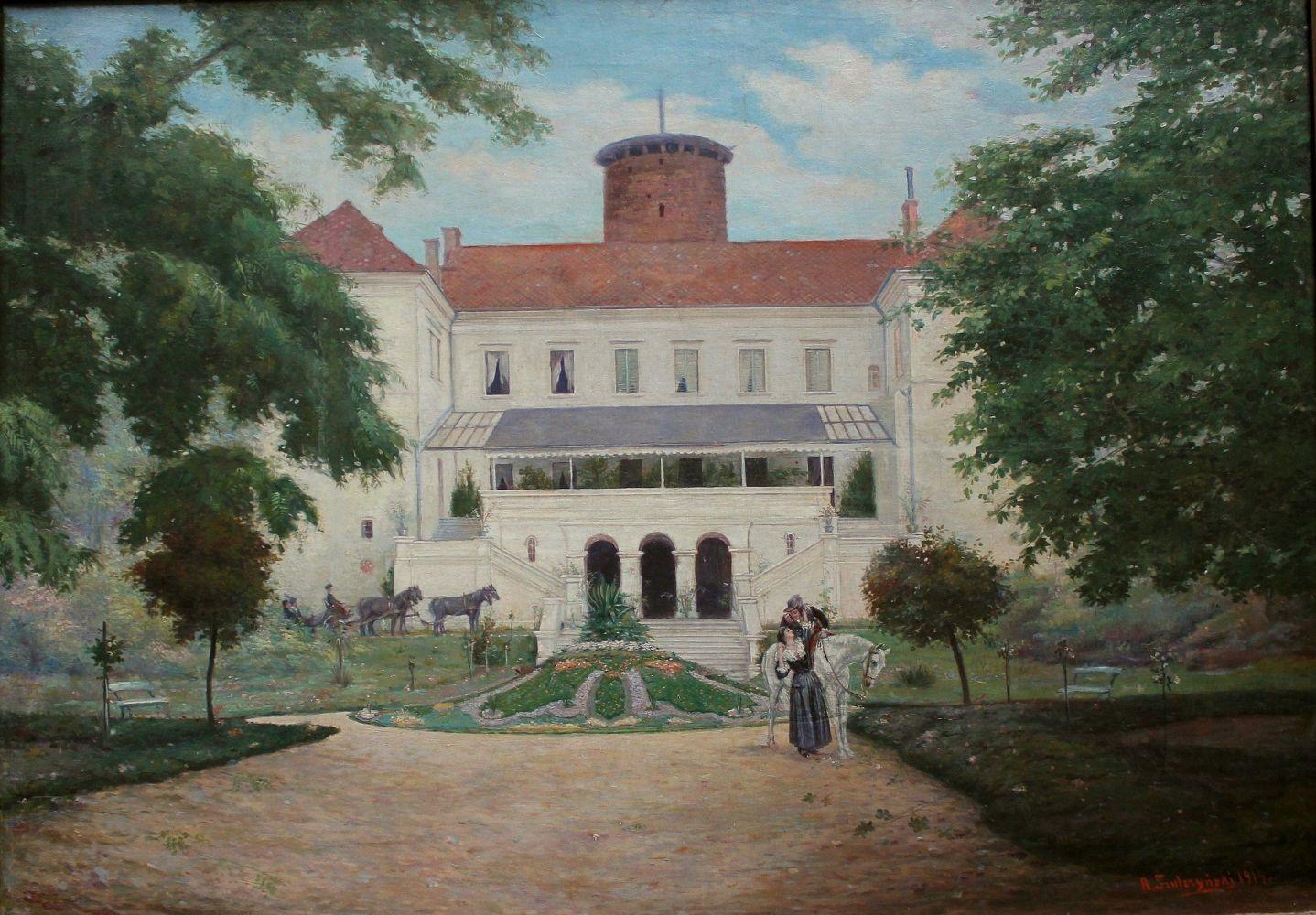 Zamek w Uniejowie od strony ogrodu (1914)
