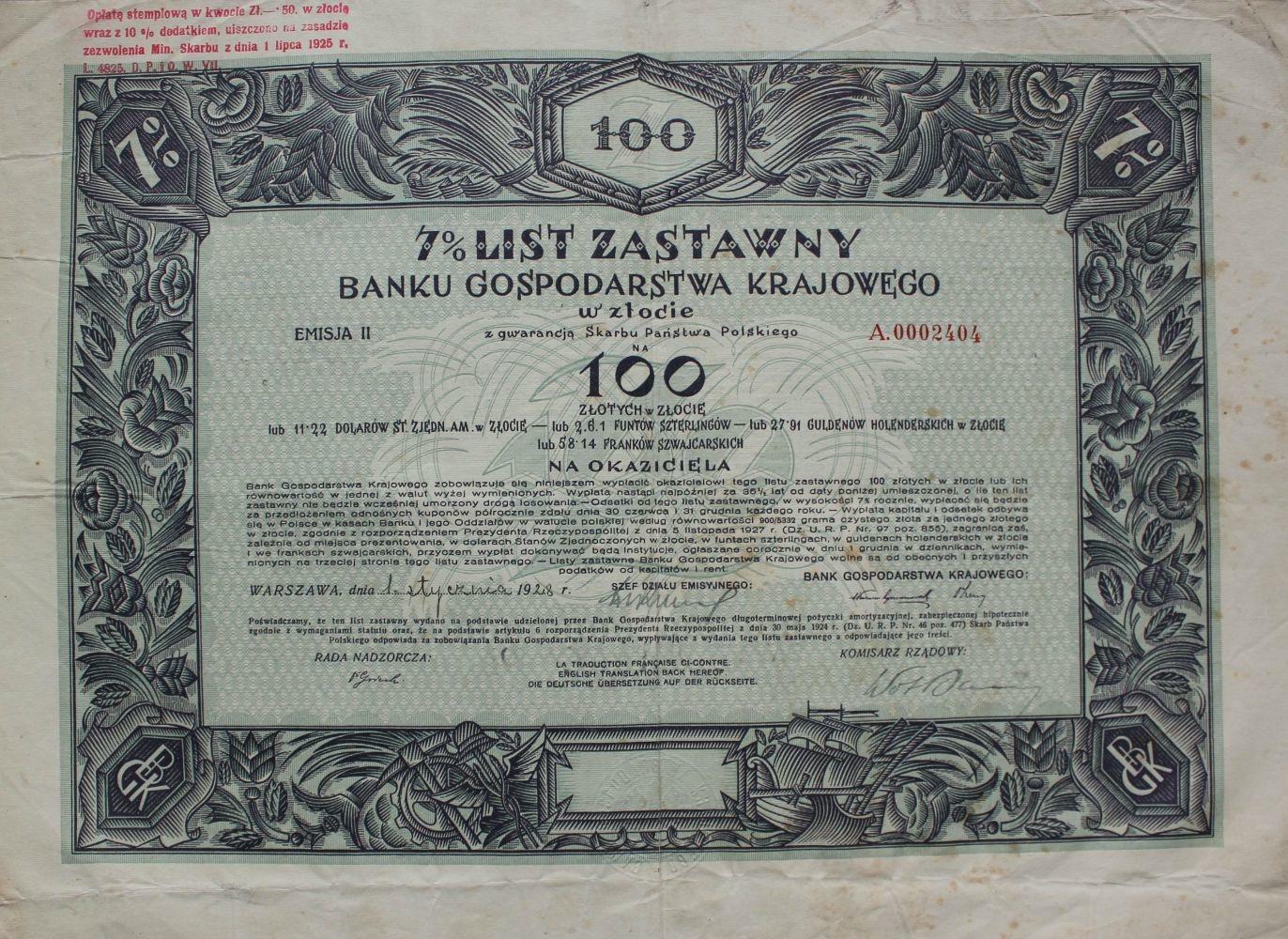 7 % List zastawny na 100 złotych.