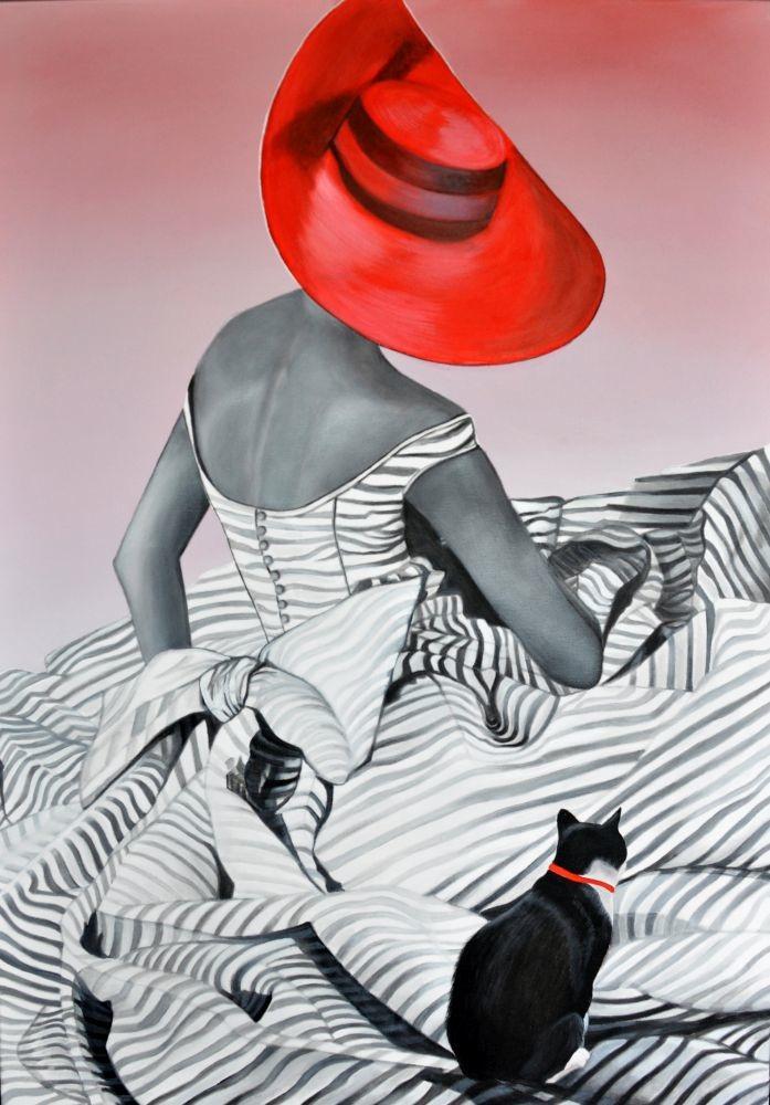 W czerwonym kapeluszu na pasiastej trawie (2017)